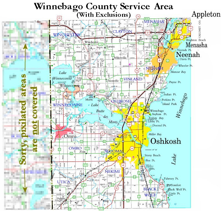 Service Area in Winnebago County WI